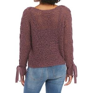 Jolt Sweaters - Lace Up Sleeves Purple Sweater